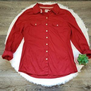 Converse Brick Red Button Down Shirt